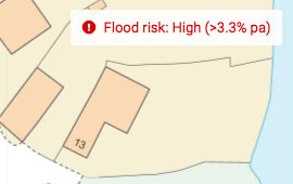 Quickly determine flood risk of a property by entering the postcode into the plot map