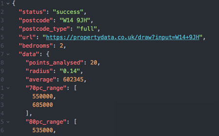 Our JSON API allows estate agents to easily extract live property market data in a machine-readable format